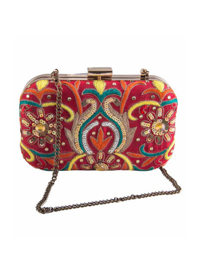 Indian Accessories Designers - The Purple Sack - Indian Designer Bags - TPS-SS15-TPS20 - Multicolour Embroidered Clutch