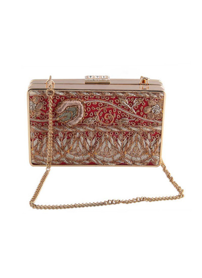 Indian Accessories Designers - The Purple Sack - Indian Designer Bags - TPS-SS15-TPS44 - Red Antique Clutch