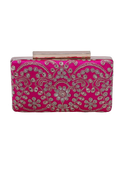 Indian Accessories Designers - The Purple Sack - Indian Designer Bags - TPS-SS15-TPS57 - Pink Embellished Clutch