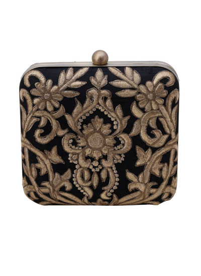 Indian Accessories Designers - The Purple Sack - Indian Designer Bags - TPS-SS15-TPSBLK - Baroque Black Clutch