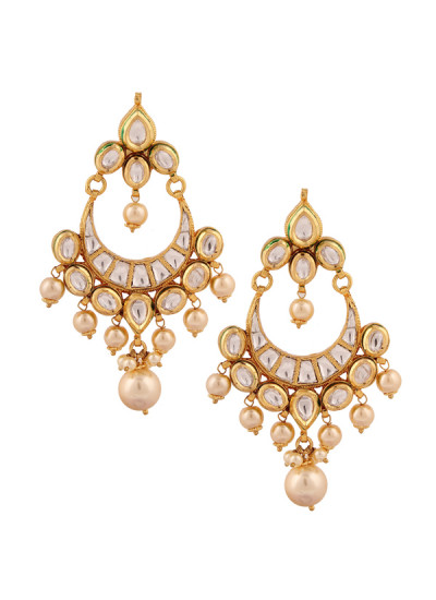 Indian Accessories Designers - Yosshita-Neha - Indian Designer Jewellery - Earrings - YN-SS15-EAR-479 - Pretty Kundan Chandelier Earrings