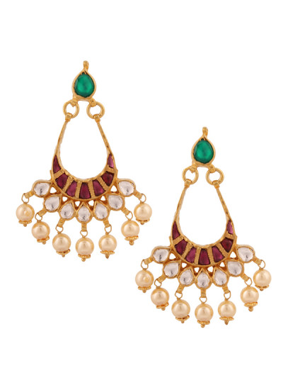 Indian Accessories Designers - Yosshita-Neha - Indian Designer Jewellery - Earrings - YN-SS15-EAR-480 - Pearl Drop Kundan Earrings