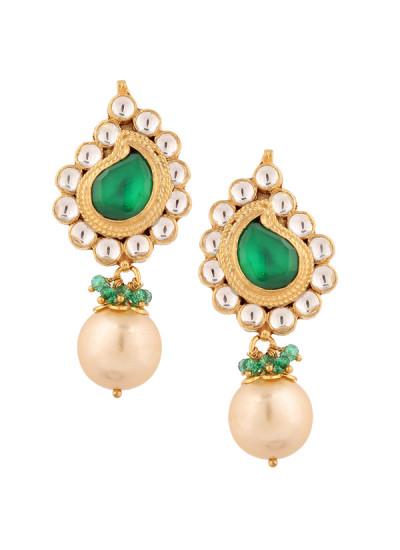 Indian Accessories Designers - Yosshita-Neha - Indian Designer Jewellery - Earrings - YN-SS15-EAR-483 - Green Paisley Earrings