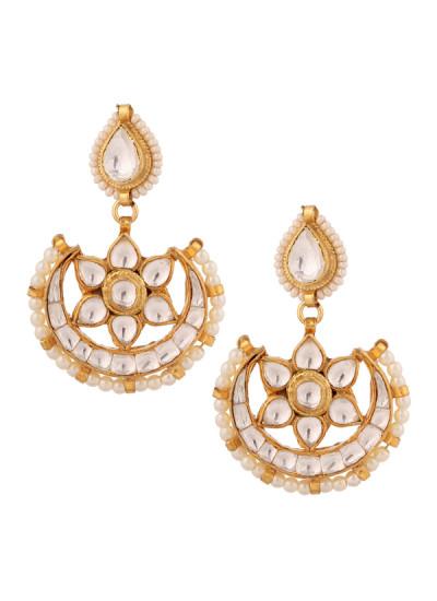 Indian Accessories Designers - Yosshita-Neha - Indian Designer Jewellery - Earrings - YN-SS15-EAR-484 - Enchanting Kundan Earrings