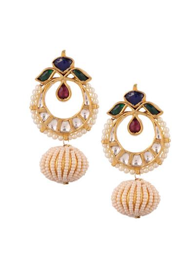 Indian Accessories Designers - Yosshita-Neha - Indian Designer Jewellery - Earrings - YN-SS15-EAR-487 - Lovely Half Chand Earrings