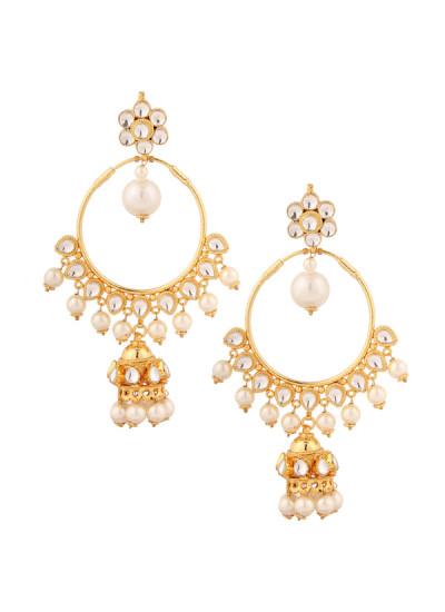Indian Accessories Designers - Yosshita-Neha - Indian Designer Jewellery - Earrings - YN-SS15-EAR-492 - Festive Gold Finish Earrings