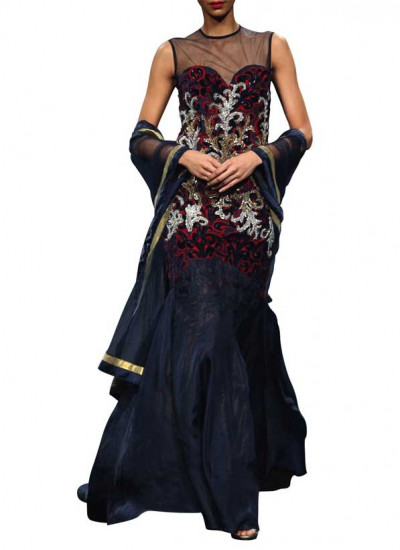 Contrast Navy and Red Coloured Dress by Indian Fashion Designer Narendra Kumar