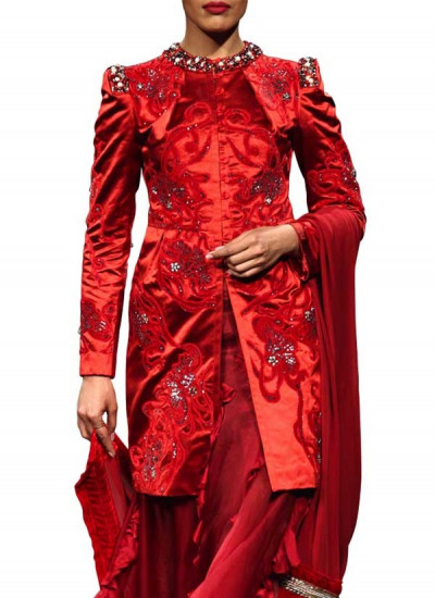Red Structured Embroidered Jacket by Indian Fashion Designers