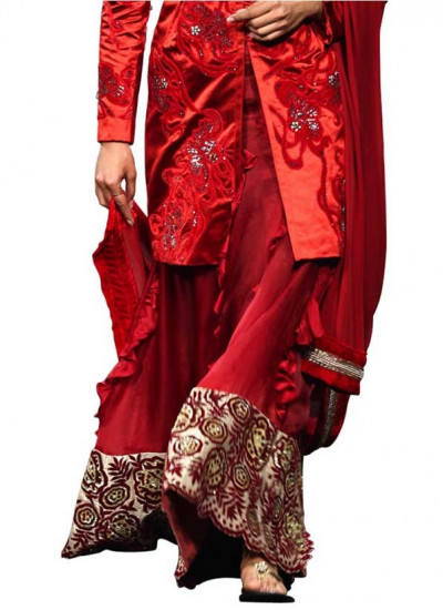 Narendra Kumar - Red Velvet Applique Flower Skirt Strand of Silk - Indian Fashion Designers