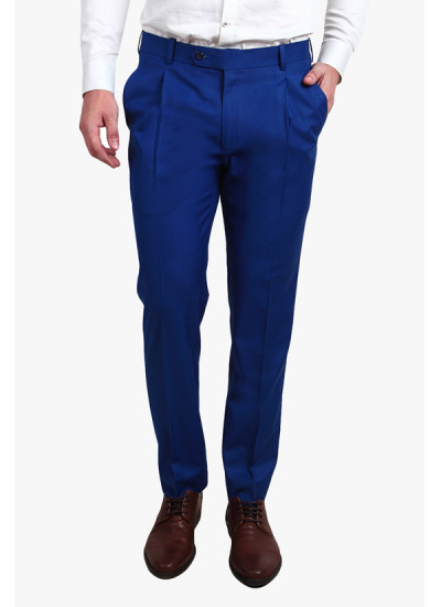 Indian Fashion Designers - Alvin Kelly - Contemporary Indian Designer - Blue Solid Slim Fit Formal Trouser - ALK-SS16-ALK-TRS-1254
