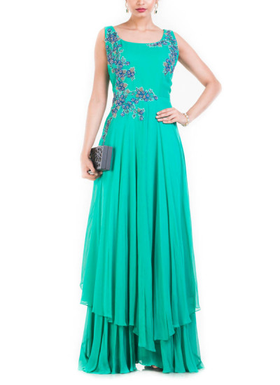 Indian Fashion Designers - Anju Agarwal - Contemporary Indian Designer - Turquoise Sleeveless Double Layer Cocktail Gown - ANJA-AW16-LKA-3301