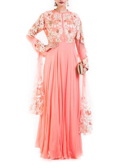 Indian Fashion Designers - Anju Agarwal - Contemporary Indian Designer - Peach Long Gown - ANJA-AW16-LSA-7007
