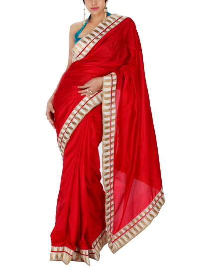 Indian Fashion Designers - Mandira Bedi - Contemporary Indian Designer - Red Silk Saree with Geometric Double Border - MBI-SS16-FBDCHVR-001