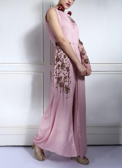 Indian Fashion Designers - Nidhi Singh - Contemporary Indian Designer - Embellished Pink Jumpsuit - NDC-SS17-NID17011