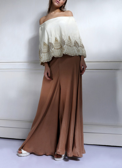 Indian Fashion Designers - Nidhi Singh - Contemporary Indian Designer - Offshoulder Flowy Cape Jumpsuit - NDC-SS17-NIDSP059