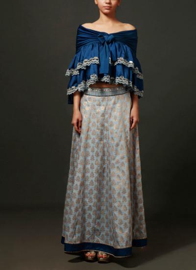 Indian Fashion Designers - Nidhi Singh - Contemporary Indian Designer - Cobalt Blue Off Shoulder Knotted Layered Top Set - NDC-SS17-NIDSP09