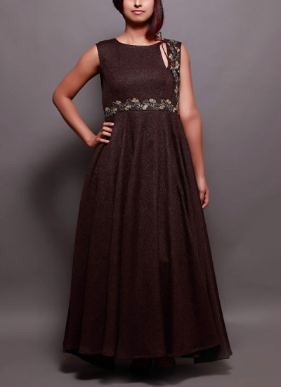 Indian Fashion Designers - Prisha by Shivesh - Contemporary Indian Designer - Dark Brown Pleated Gown - PRSH-AW16-Swasti-18