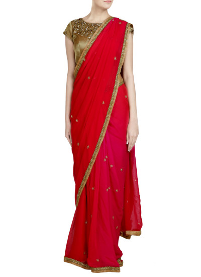 Indian Fashion Designers - Priti Sahni - Contemporary Indian Designer - Ombre Deep Pink Saree - PRS-SS17-PSS421