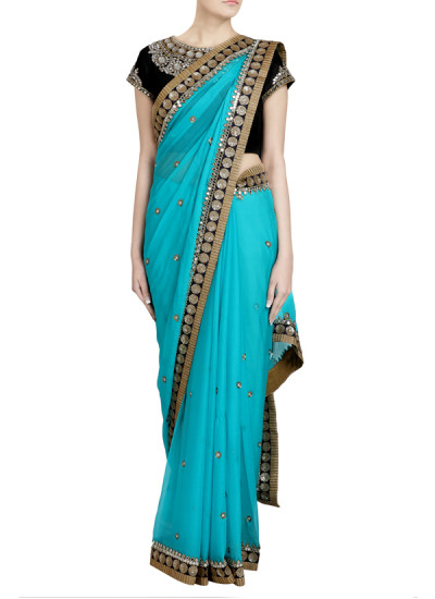 Indian Fashion Designers - Priti Sahni - Contemporary Indian Designer - Mirror Sequin Detailed Saree - PRS-SS17-PSS431