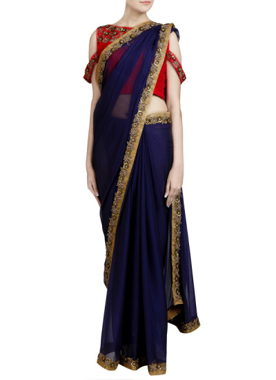 Indian Fashion Designers - Priti Sahni - Contemporary Indian Designer - Zardozi Embroidered Deep Grey Saree - PRS-SS17-PSS436
