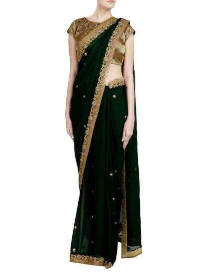 Indian Fashion Designers - Priti Sahni - Contemporary Indian Designer - Zardozi Embroidered Emerald Saree - PRS-SS17-PSS437