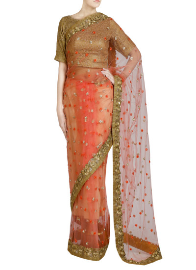 Indian Fashion Designers - Priti Sahni - Contemporary Indian Designer - Pearl Detailed Blush Saree - PRS-SS17-PSS440