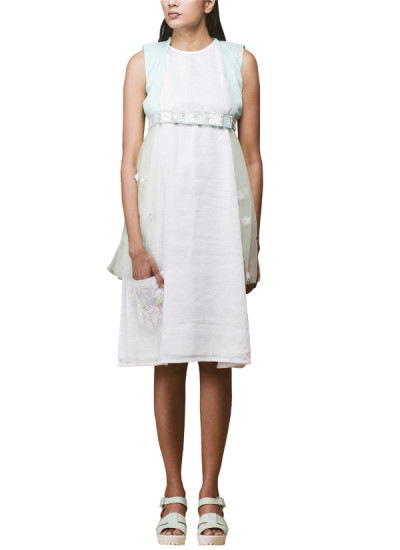 Indian Fashion Designers - Pushpak Vimaan - Contemporary Indian Designer - Classy White Linen Shift Dress  - PV-SS16-PV-CL2-10