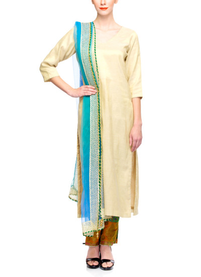 Indian Fashion Designers - Rang - Contemporary Indian Designer - Gold Tissue Suit - RNG-AW16-3-167