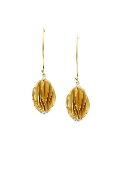 Indian Fashion Designers - Rawtonica - Contemporary Indian Designer - Golden Appla Earrings - RAW-SS16-RSE02