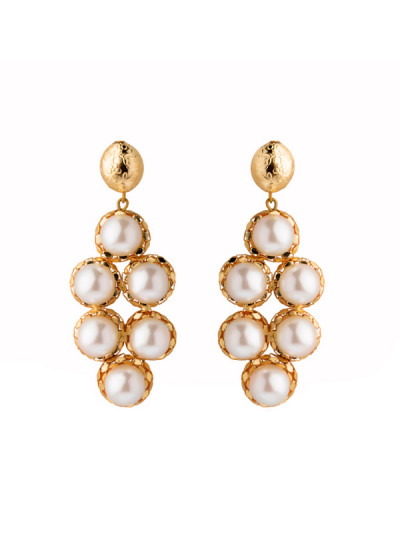 Indian Fashion Designers - Rejuvenate Jewels - Contemporary Indian Designer - White Pearl Placements  - RJJ-SS16-RJE526