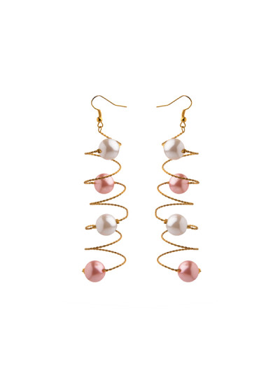 Indian Fashion Designers - Rejuvenate Jewels - Contemporary Indian Designer - PinkPearl Curly Earrings - RJJ-SS16-RJE547
