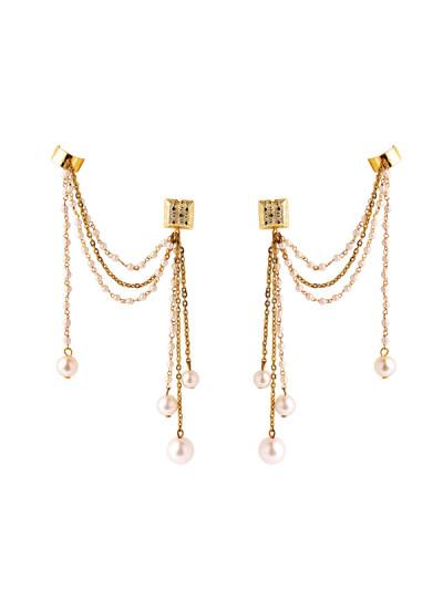 Indian Fashion Designers - Rejuvenate Jewels - Contemporary Indian Designer - Hanging Ganthan Earcuff  - RJJ-SS16-RJEC316