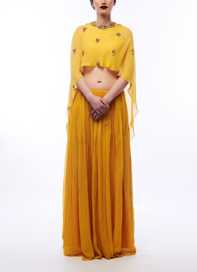 Indian Fashion Designers - Renee Label - Contemporary Indian Designer - Amber Yellow Cape Lehenga - REN-SS16-RLL3-Citrine