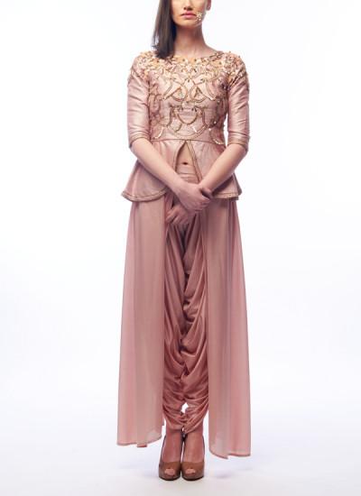 Indian Fashion Designers - Renee Label - Contemporary Indian Designer - Nude Peplum Top Set - REN-SS16-RLL6-Spinel