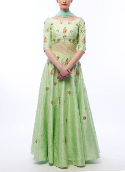 Indian Fashion Designers - Renee Label - Contemporary Indian Designer - Pistachio Anarkali Dress - REN-SS16-RLL7-Jade
