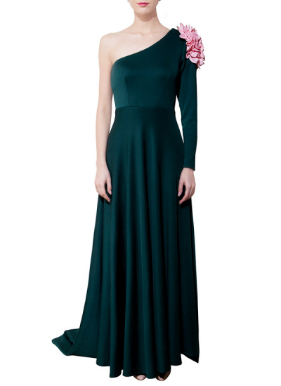 Indian Fashion Designers - Riddhi And Revika - Contemporary Indian Designer - Emerald Dark Green Off-Shoulder Gown - RRI-AW16-G-002