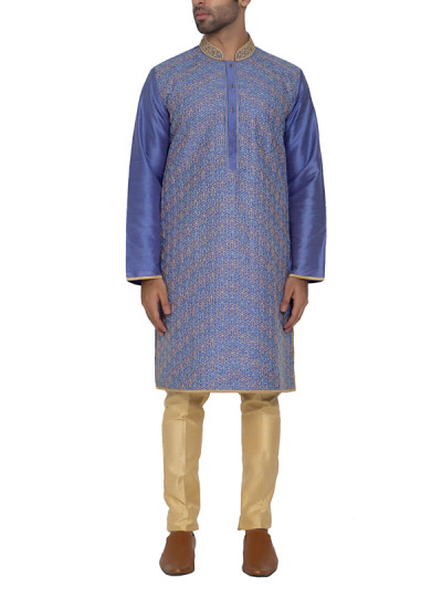 Indian Fashion Designers - WYCI - Contemporary Indian Designer - Bluish Purple Kurta - WYCI-SS16-S6KRs39Fd2