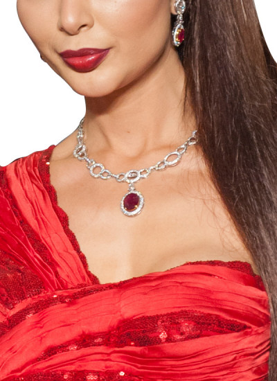 Indian Fashion Designers - Diagold - Contemporary Indian Designer Fine Jewellery - Necklaces - AW13 - S9 - Elegant Diamond and Ruby Necklace