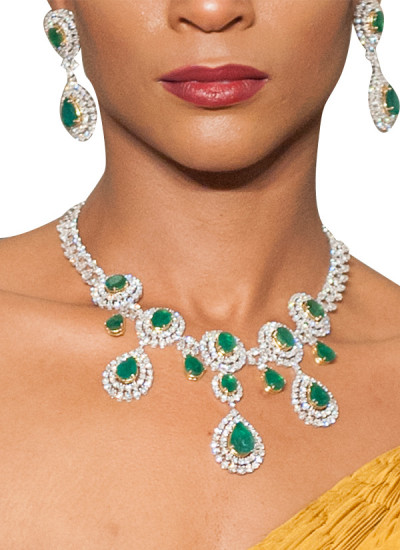 Indian Fashion Designers - Diagold - Contemporary Indian Fine Jewellery - Necklaces - AW13 - S2 - Dazzling Diamond and Emerald Necklace Set