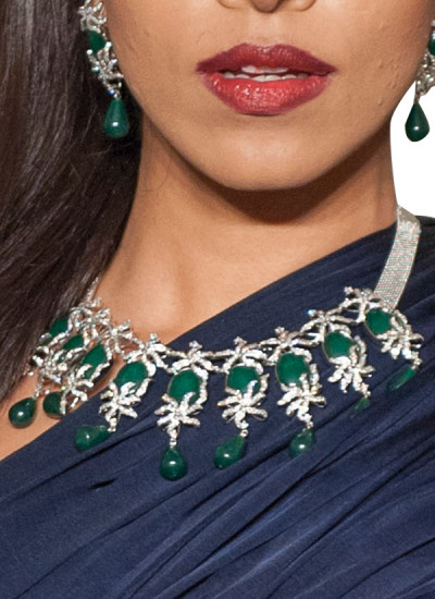 Indian Fashion Designers - Diagold - Contemporary Indian Fine Jewellery - Necklaces - AW13 - S3 - Pretty Diamond Necklace Set with Green Stones