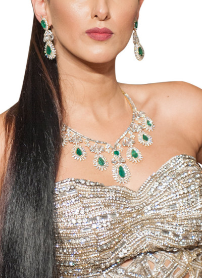Indian Fashion Designers - Diagold - Contemporary Indian Fine Jewellery - Necklaces - AW13 - S5 - Gorgeous Diamond and Emerald Necklace Set
