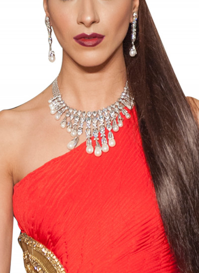 Indian Fashion Designers - Diagold - Contemporary Indian Fine Jewellery - Necklaces - AW13 - S8 - Opulent Diamond and Pearls Necklace Set