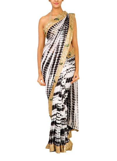 Indian Fashion Designers - Janki - Contemporary Indian Designer - Sarees - JKI-SS15-S3 - Timeless Monochrome Saree