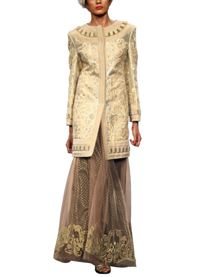 Indian Fashion Designers - Narendra Kumar - Contemporary Indian Designer Clothes - Skirts - NK-SS13-B-PDF-2-3 - Brocade and Net Skirt