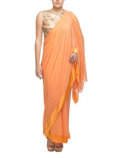 Indian Fashion Designers - Nidhika Shekhar - Contemporary Indian Designer - Sarees - NS-SS15-NSSe27 - Coral Orange Drape Saree