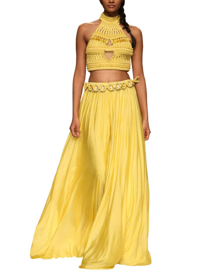 Indian Fashion Designers - Rinku Sobti - Contemporary Indian Designer - Tops - RS-SS15-CM3-1001 - Yellow Cropped Top Set