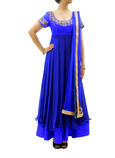 Indian Fashion Designers - silvereene - Contemporary Indian Designer Clothes - Anarkalis - SI-SS15-SIL-10 - Royal Blue Embroidered Anarkali