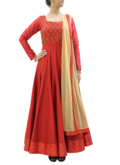 Indian Fashion Designers - silvereene - Contemporary Indian Designer Clothes - Anarkalis - SI-SS15-SIL-15 - Chic Red Silk Anarkali