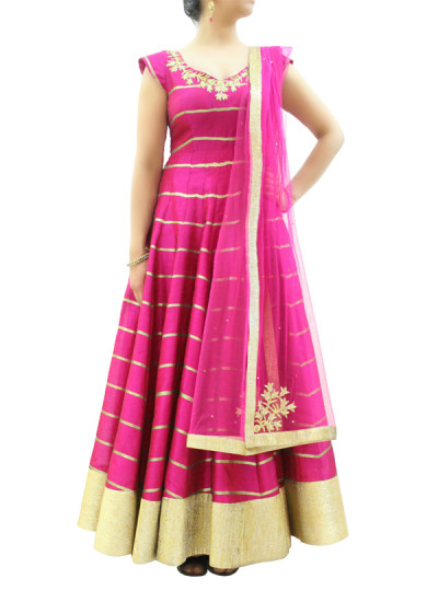 Indian Fashion Designers - silvereene - Contemporary Indian Designer Clothes - Anarkalis - SI-SS15-SIL-19 - Pink Embroidered Anarkali