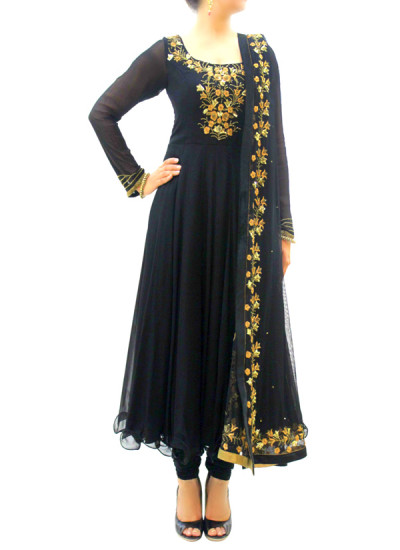 Indian Fashion Designers - silvereene - Contemporary Indian Designer Clothes - Anarkalis - SI-SS15-SIL-1 - Black Embroidered Anarkali
